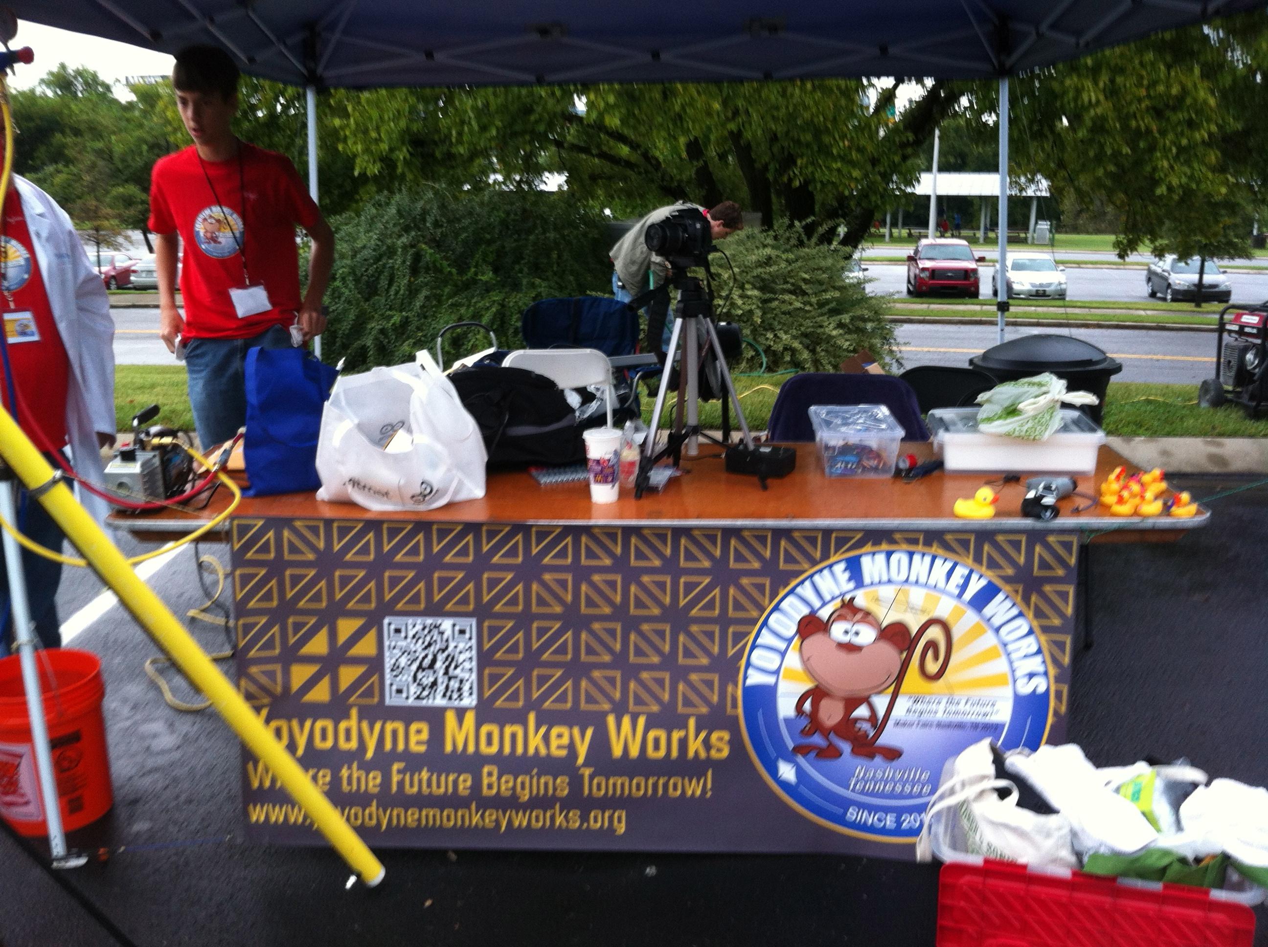 Yoyodyne Monkeyworks setting up for Maker's Faire